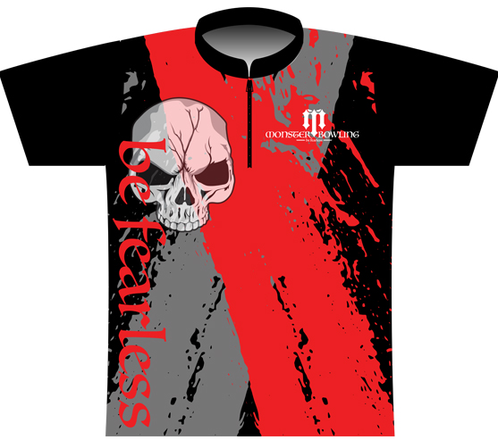 Monster Bowling Red Grey Skull Jersey
